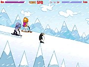 Click to Play PuppyGirls In Snow Scooter